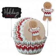 """24 caissettes et pics pour cupcakes """"Christmas Holidays"""""""