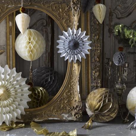 """3 décorations rosace """"rose, pêche, jaune"""""""
