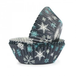 100 mini caissettes en aluminium flocons de neige