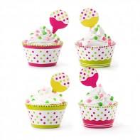 12 contours et pics à cupcakes à pois