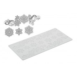 "Tapis Tricot Decor ""flocons de neige"" 40x20cm"