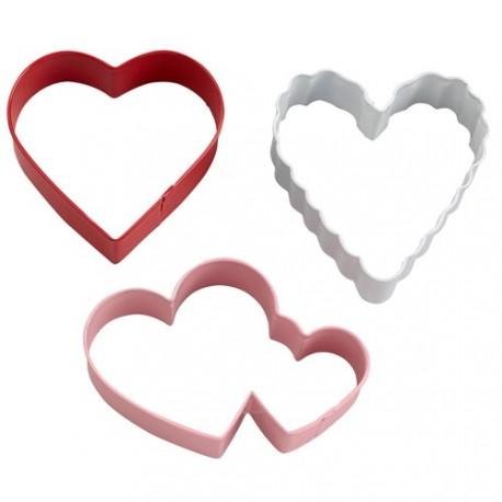 """3 emporte-pièces """"coeur, coeur, coeur"""""""