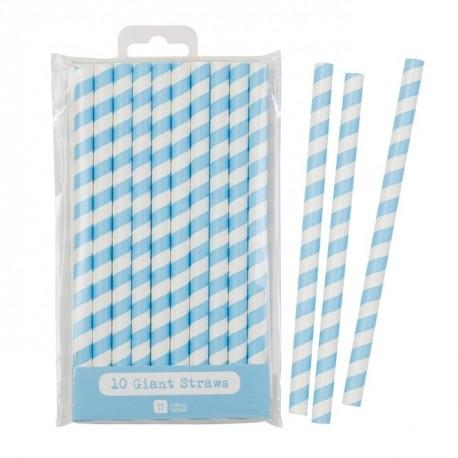 10 pailles larges rayures bleu