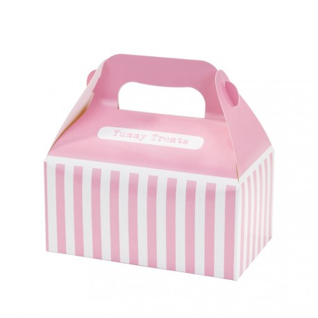 4 boîtes à rayures rose