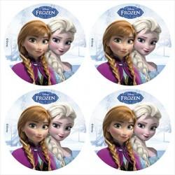 12 mini disques azyme Reine des Neiges pour cupcakes