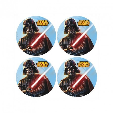 12 mini disques azyme Star Wars pour cupcakes