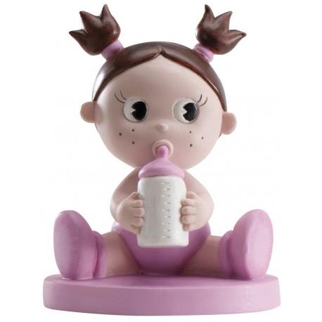 Figurine bébé fille et son bib