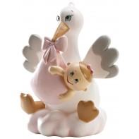 Figurine madame cigogne et bébé fille