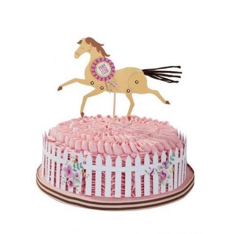 """1 topper et 1 contour à gâteau """"Poney"""""""