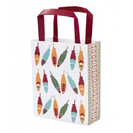 """8 sacs en papier plumes """"indien"""""""