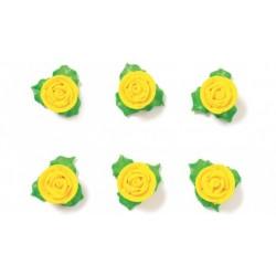 "6 roses en sucre ""jaune"""