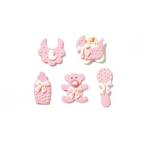 Décorations en sucre baby shower - fille