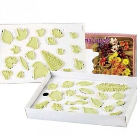 Coffret d'emporte-pièces pour gumpaste - feuilles