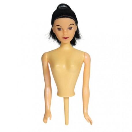 Buste de poupée cheveux noirs