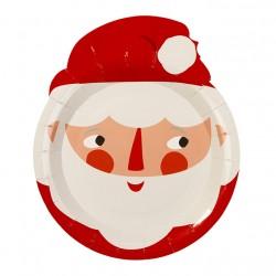 8 assiettes Père Noël en carton