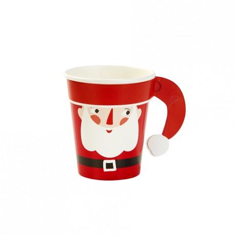 8 gobelets en carton Père Noël
