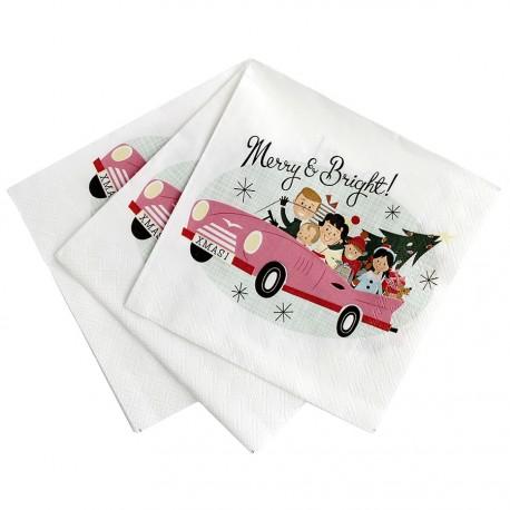 20 mini serviettes en papier Noël