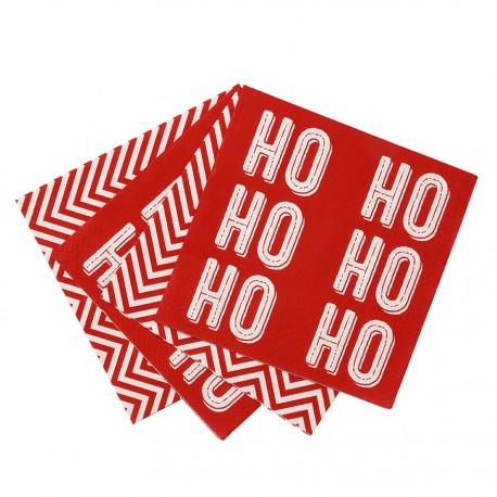 """20 serviettes """"Ho Ho Ho"""" en papier"""