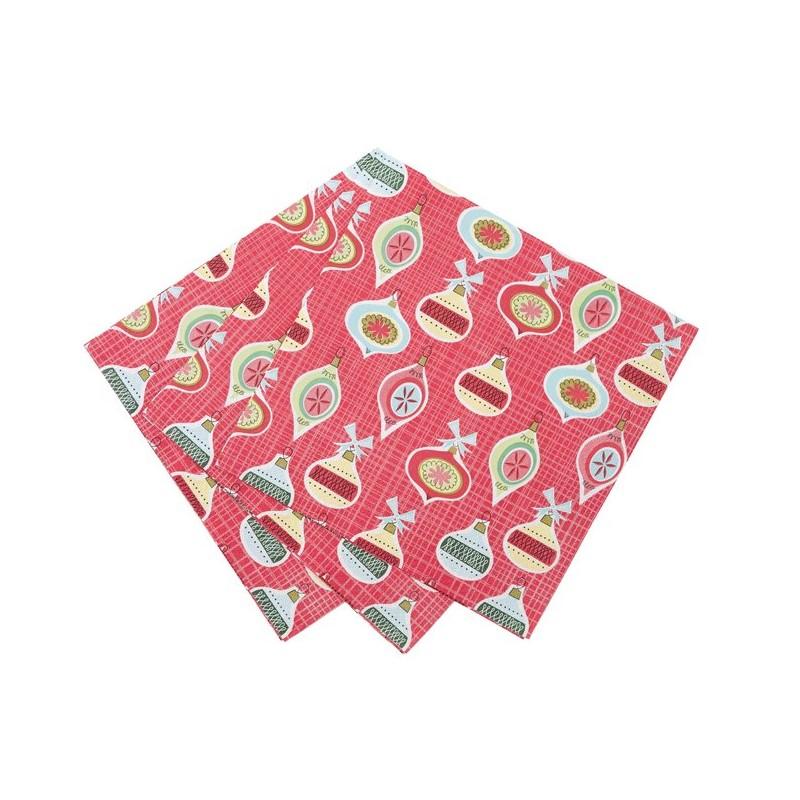 20 serviettes en papier boules de no l. Black Bedroom Furniture Sets. Home Design Ideas