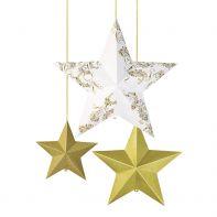 3 étoiles 3D dorées à suspendre