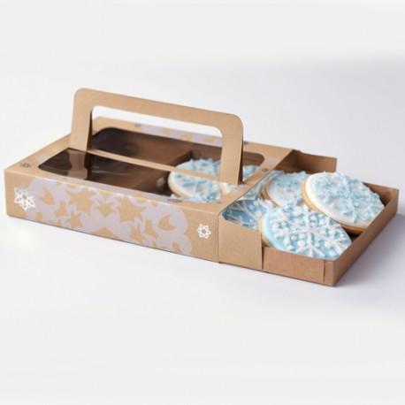 """3 boîtes kraft à biscuits """"flocons de neige"""""""