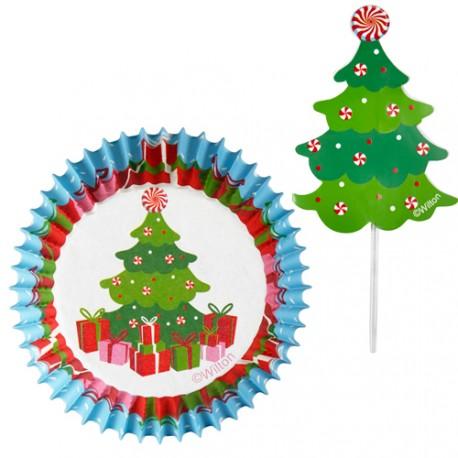 """Coffret 24 caissettes et pics """"sapin de Noël"""""""