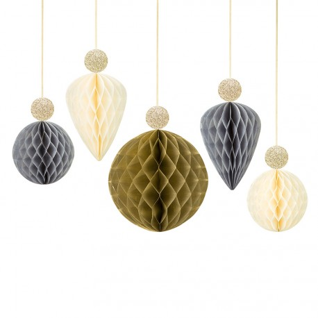5 décorations nid d'abeille or et argent