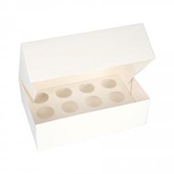 3 boîtes à mini cupcakes blanches 25x17cm