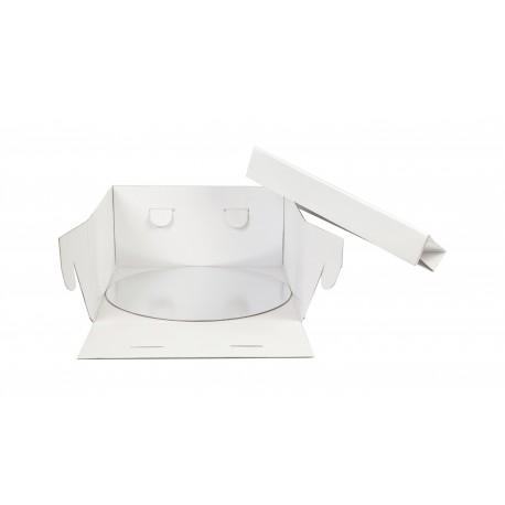 Boîte à gâteau blanche avec support rond 20x20x15cm
