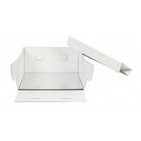 Boîte  à gâteau blanche avec support carré 30x30x15cm