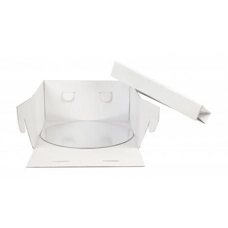Boîte à gâteau blanche avec support rond 30x30x15cm