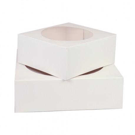 2 boîtes à gâteaux blanches carré - 23cm