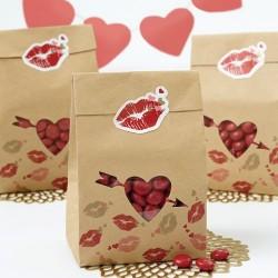 """6 sachets à confiseries """" coeur"""""""