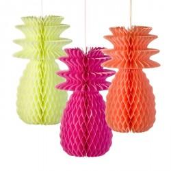 """3 décorations nid d'abeilles fluorescentes """"Ananas"""""""