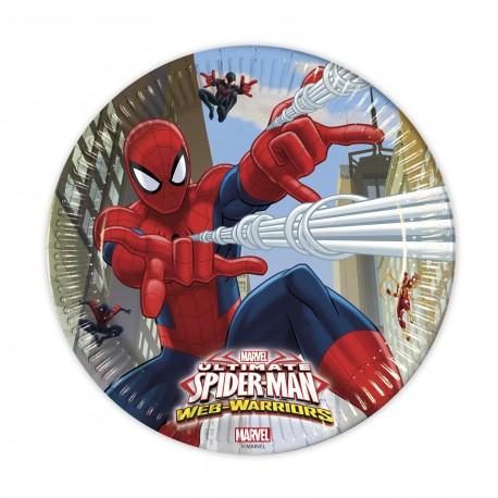 8 assiettes 23 cm - Spiderman