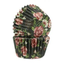 """100 Mini caissettes """"fleur noire"""""""