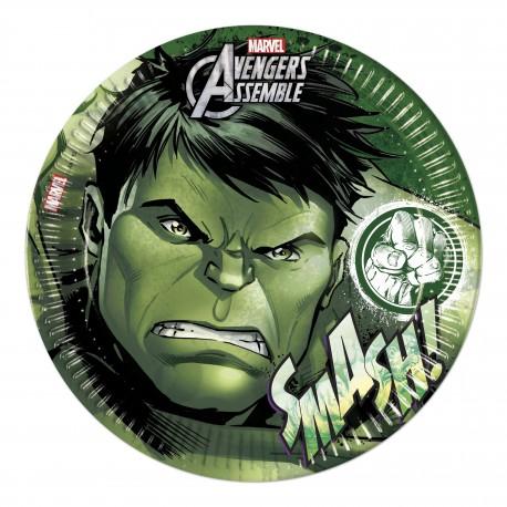 8 assiettes en carton 23cm - Avengers Hulk