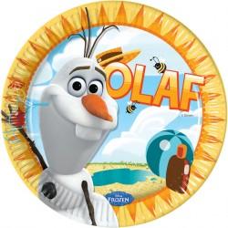 8 assiettes en carton 23cm - Olaf en été