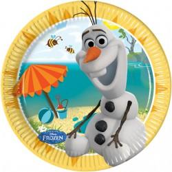 8 assiettes en carton 20cm - Olaf en été