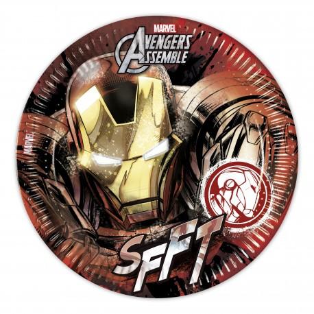 8 assiettes en carton 23cm - Avengers Iron Man