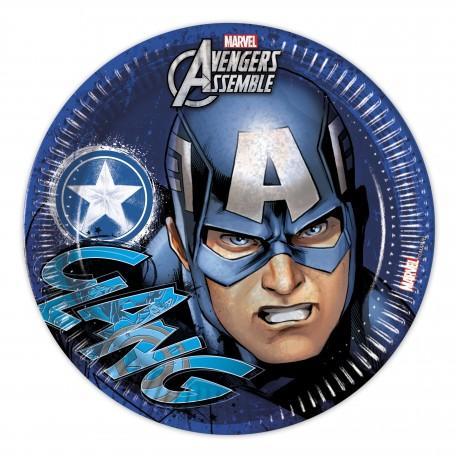 8 assiettes en carton 23cm - Avengers Captain America