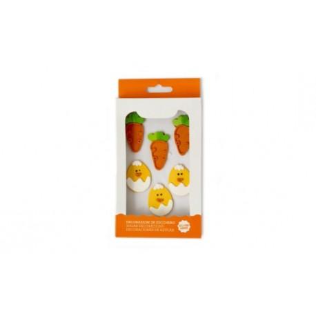 """6 décors en sucre """"carottes et poussins"""""""