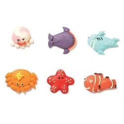 """6 décors en sucre """"animaux marins"""""""