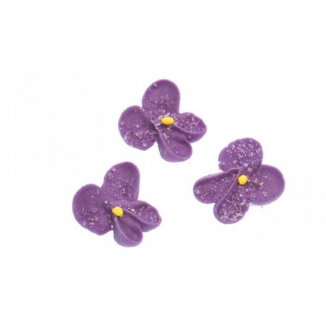 """6 décors en sucre """"violettes"""""""