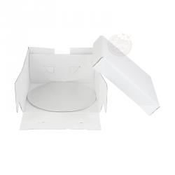 Boîte  à gâteau blanche avec support rond 25x25x15cm
