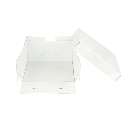 Boîte à gâteau blanche avec support carré 25x25x15cm