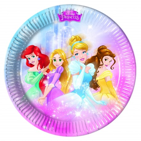 8 assiettes 23 cm - Princesses Disney