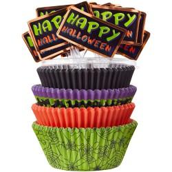 """100 caissettes et pics """"Happy Halloween"""""""