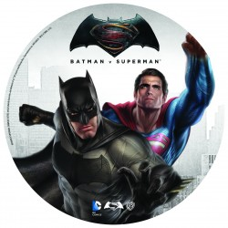 Disque de sucre Superman, Batman et Flash - 20 cm