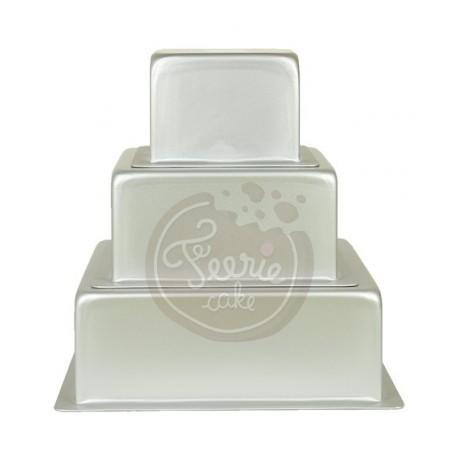 3 moules à gâteaux carrés pour wedding cake - 10, 15, 20 x 7,5 cm